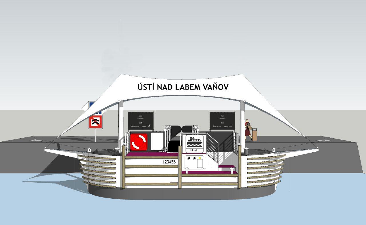 Nákres nového přístaviště Ústí nad Labem-Vaňov. Pramen: ŘVC