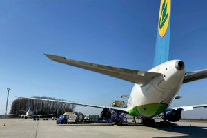 Boeing 767-300 po přistání v Mošnově. Foto: Letiště Ostrava