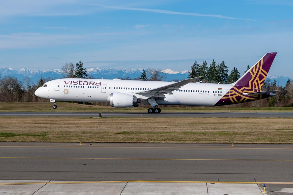 Boieng 787-9 společnosti Vistara. Foto: Vistara