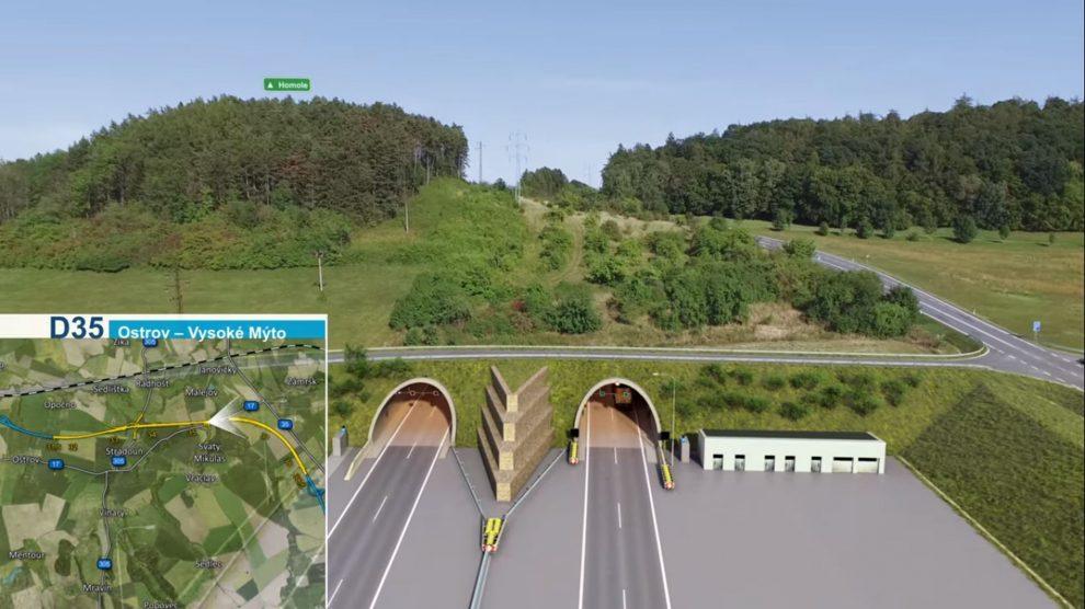 Vizualizace východního portálu tunelu Homole na D35. Foto: ŘSD