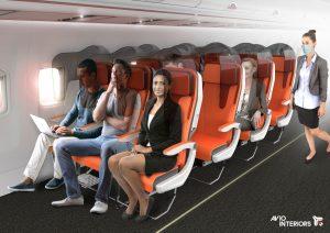 Uspořádání interiéru letadla s ochranou proti šíření virů. Foto: Avio Interiors