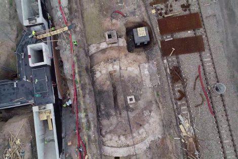Jaroměř, základy původní točny vypálené za války v roce 1866. Pramen: FB Správa železnic