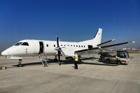 Letadlo Saab 340 odvezlo zaměstnance Metrostavu do Norska. Pramen: Metrostav a.s.
