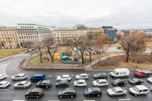 Vrchlického sady, pohled od magistrály. Pramen: IPR Praha