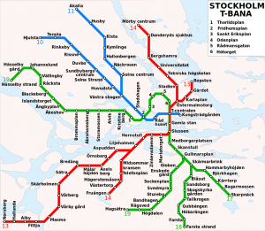Trasy stockholmského metra. By user:xyboi, redraw by Stonyyy - Stockholm_metro_map.png, CC BY-SA 3.0, https://commons.wikimedia.org/w/index.php?curid=16224884