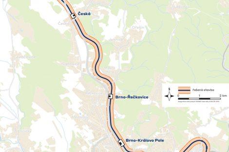 Mapa úseku, který projde opravou v rámci modernizace stanice Brno - Královo Pole. Foto Správa železnic