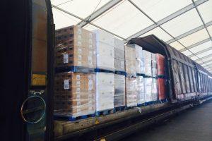 Nakládka potravin do vlaku v Belgii. Foto: Scanlog