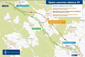 Úsek D1 Devět Křížů - Ostrovačice a objízdná trasa. Pramen: ŘSD
