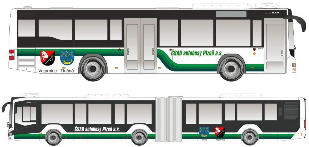 Vizualizace nových autobusů pro linky z Tlučné a Vejprnic do Plzně. Foto: ČSAD Autobusy Plzeň