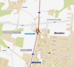 Okružní křižovatka Červené Vršky na I/3 u Benešova. Pramen: ŘSD
