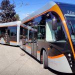 Tříčlánkový trolejbus v Linci. Pramen: DPP, dokumentace EIA/VanHool