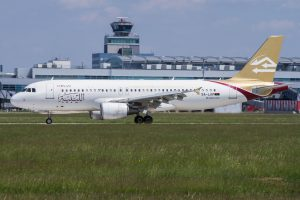 A320 společnosti Libyan Airlines v Praze. Foto: Michal Maňák