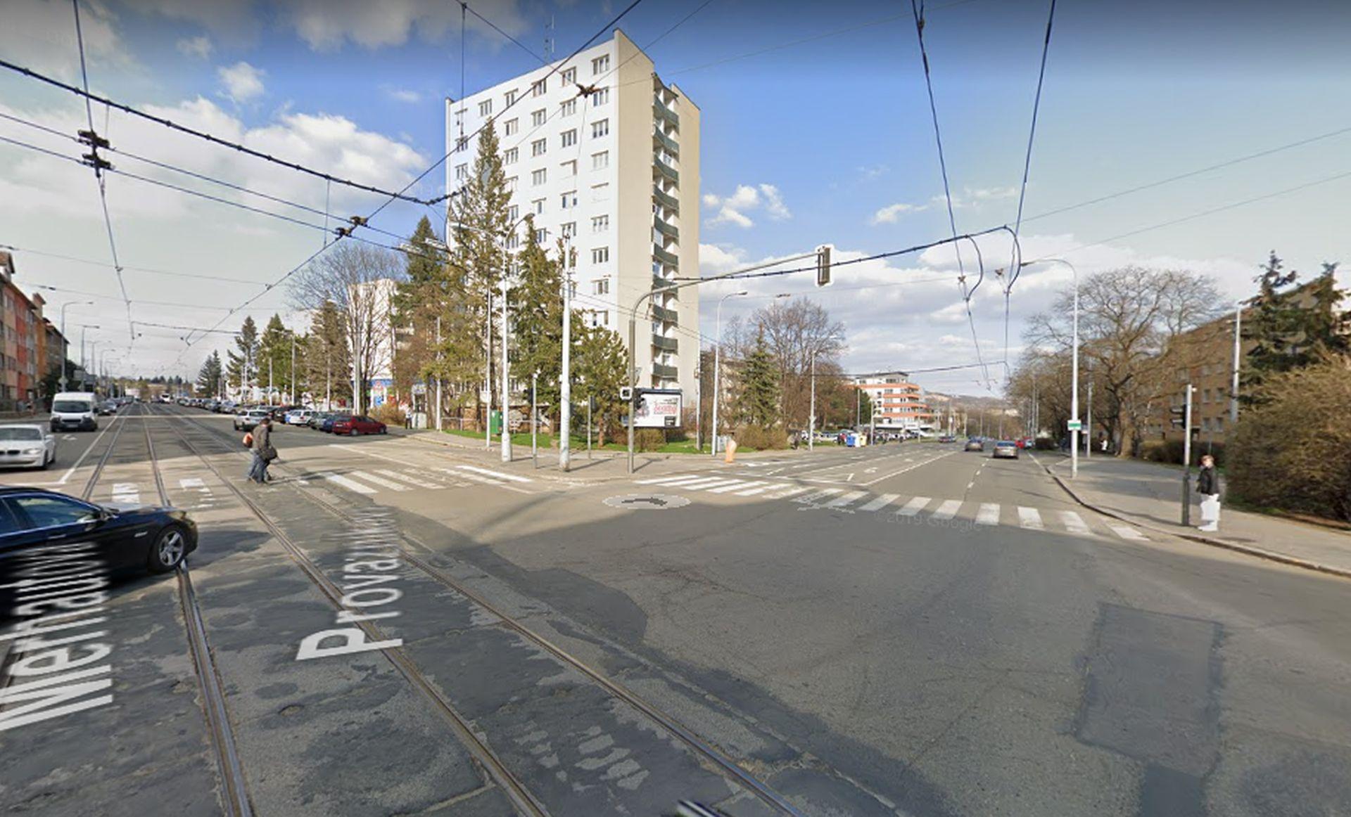 Křižovatka ulic Merhautova a Provazníkova v Brně. Foto: Google Street View