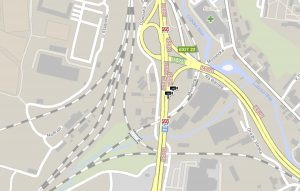 Úsek I/35 s mostem ve špatném stavu v Liberci (v místě, kde je na mapě červenobílá značka upozorňující na dopravní omezení). Mapa: www.dopravniinfo.cz