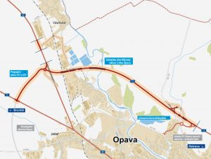Trase části severního obchvatu Opavy. Foto: ŘSD