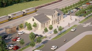 Jedna z možných budoucích podob místního nádraží v Prostějově. Vizualizace Správa železnic.
