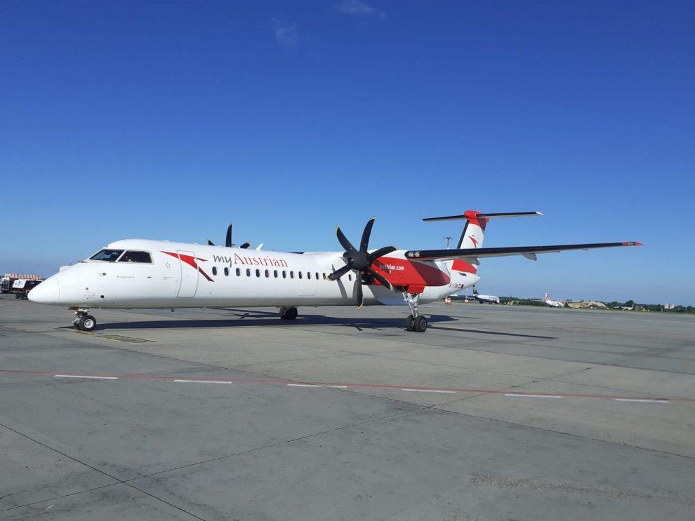 Bombardier De Havilland Canada Dash 8-400 společnosti Austrian Airlines v Praze. Foto: Letiště Praha