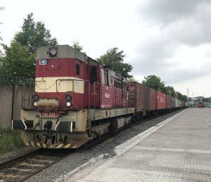 Kontejnerový vlak z Číny v Pardubicích. Foto: ČD Cargo