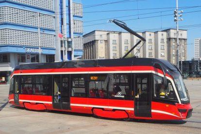Nová tramvaj Moderus MF 10 AC v Katovicích. Foto: Tramwaje Śląskie