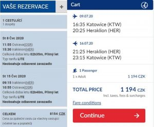 Nabídka letů na téměř shodné dny na Krétu. Vlevo Smartwings z Ostravy, vpravo LOT z Katovic