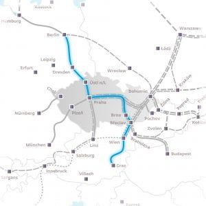 Trasa nového spojení Berlín - Praha - Vídeň - Štýrský Hradec