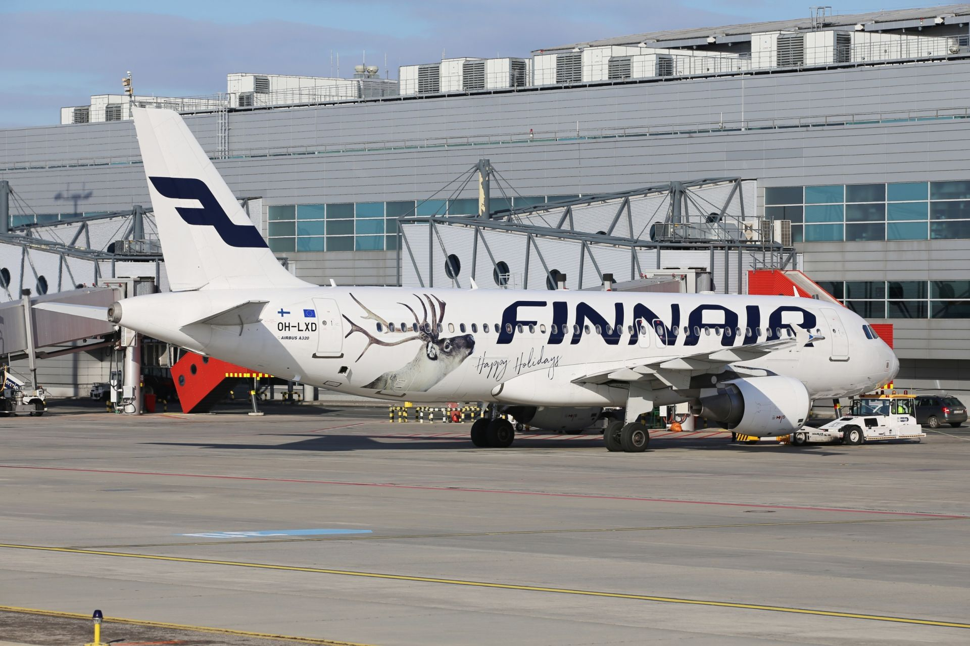 A320 společnosti Finnair v Praze. Foto: Letiště Praha