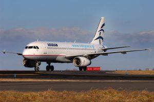 Airbus A320 společnosti Aegean Airlines v Praze. Foto: Letiště Praha