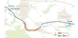 Trasa nové přeložky mezi Novým Strašecím a Stochovem. Foto: Správa železnic