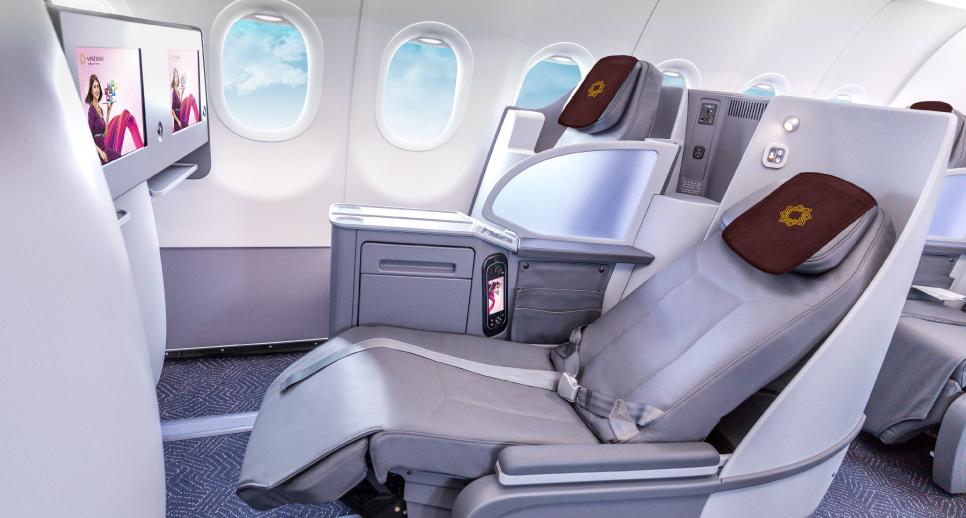 Byznys třída na palubě A321neo společnosti Vistara. Foto: Vistara