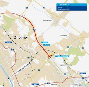 Trasa části obchvatu Znojma. Foto: ŘSD