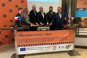 Slavnostní zahájení instalace ETCS na úsek Plzeň - Cheb. Pramen: Správa železnic