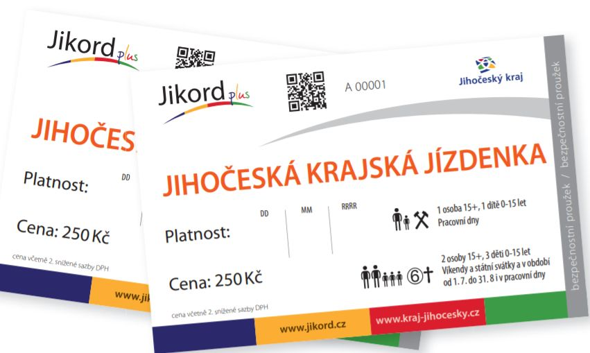 Jihočeská celokrajská jízdenka Jikord Plus. Pramen: JIKORD