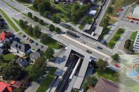 Vizualizace trati Kladno - Kladno-Ostrovec. Pramen: Město Kladno