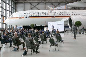 Německé vládní letadlo Airbus ACJ 350-900 XWB. Pramen: Lufthansa Technik