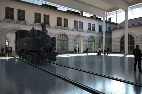 Budoucí podoba železničního muzea na Masarykově nádraží. Pramen: NTM