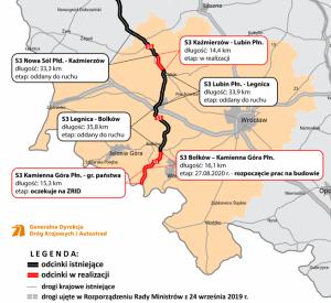 Výstavba rychlostní silnice S3. Pramen: GDDKiA