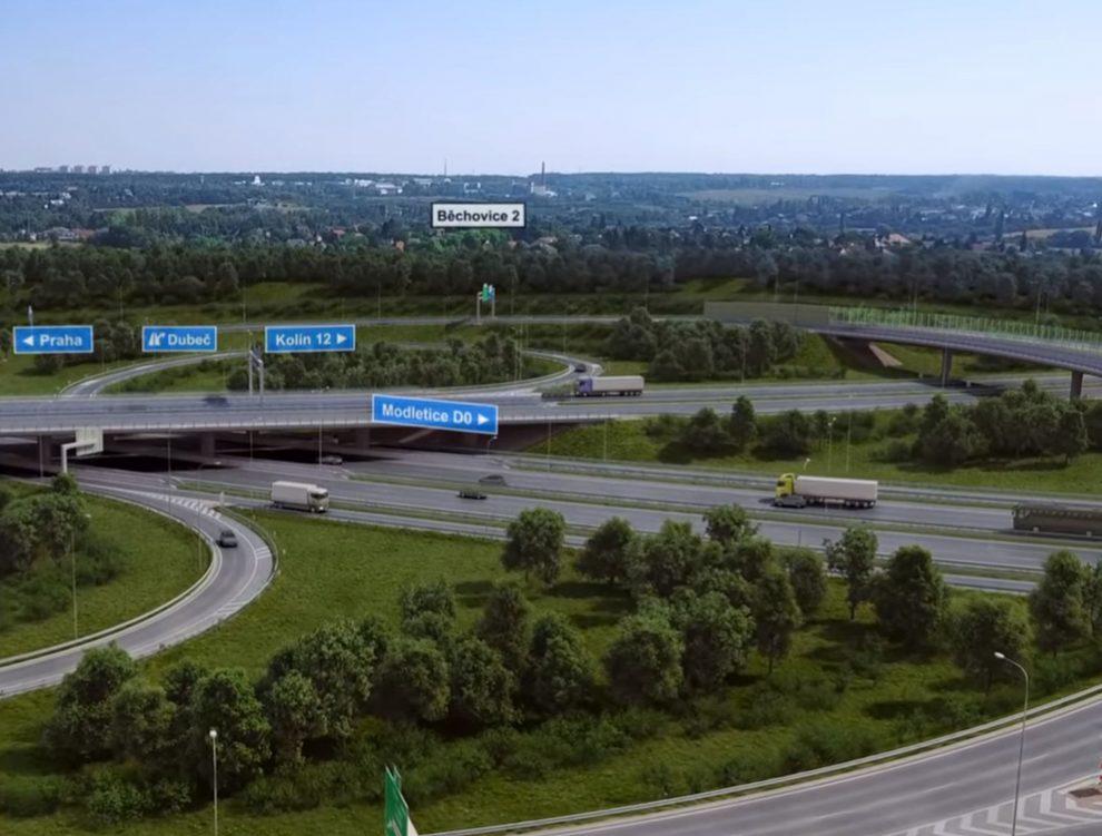 Vizualizace křižovatky Pražského okruhu u Běchovic. Foto: ŘSD