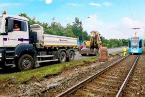 Zvyšování rychlosti tramvajové tratě v Ostravě v úseku Fričova - Zahrádky. Foto: Eurovia