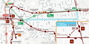 Mapa výlukového opatření při uzavírce Korunní ulice v Praze. Foto: DPP