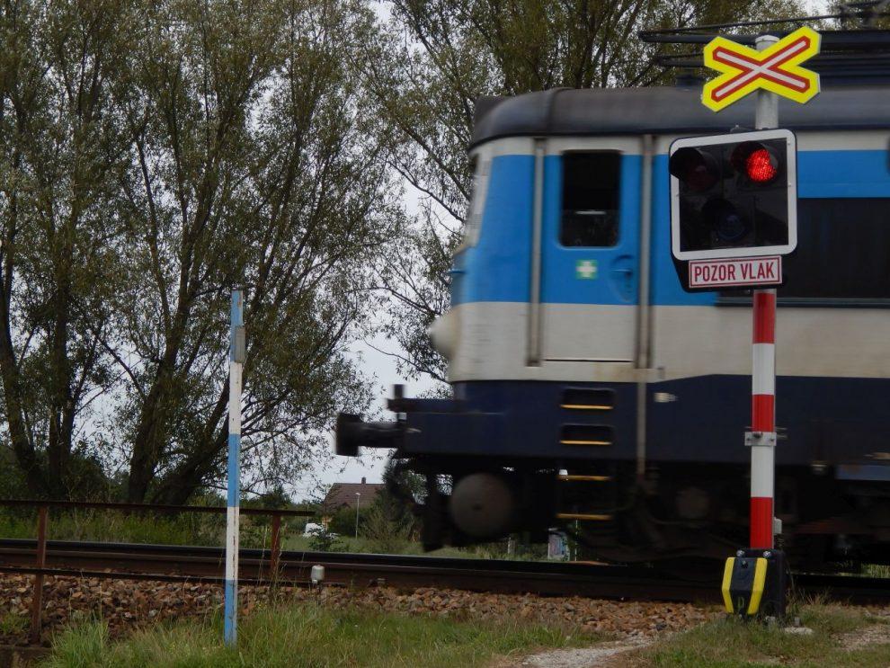 """Lokomotiva 242 """"plecháč"""" na přejezdu v Hrdějovicích. Autor: Zdopravy.cz/Jan Šindelář"""