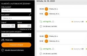 Aktuální nabídka LE mezi Prahou a Ostravou.