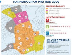 Mapa parkovacích zón v Brně. Foto: www.parkovanivbrne.cz