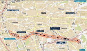 Mapa úseku stavby Hostivař - Vinohradské tunely. Foto: Správa železnic