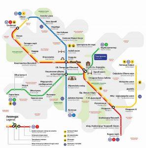Schéma metra v Sofii. Pramen: Metropolitan.bg