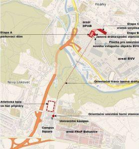Mapa budoucí lanovky Pisárky - Kampus. Foto: Brno