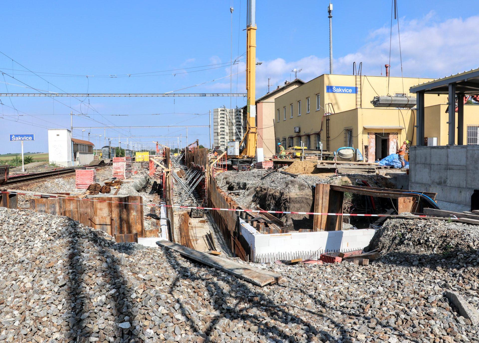 Stavební práce ve stanici Šakvice. Foto: Správa železnic
