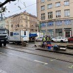 Tramvajová trať, Ječná ulice, Praha. Pramen: twitter