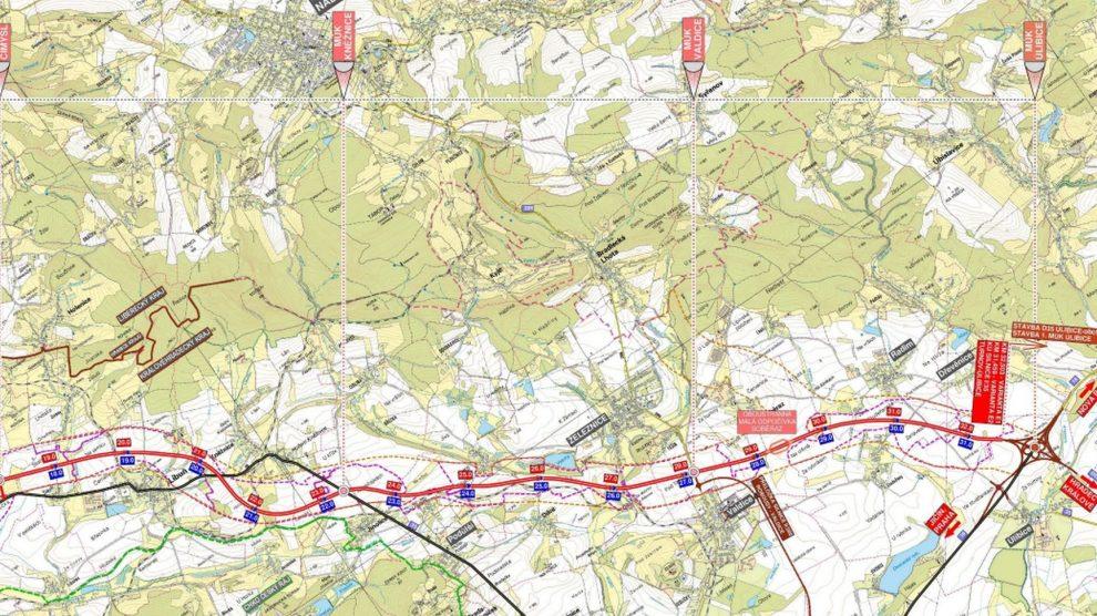 Vybrané trasy nové silnice Turnov - Úlibice. Detailnější mapa ke stažení v dokumentaci pro EIA https://portal.cenia.cz/eiasea/detail/EIA_MZP462