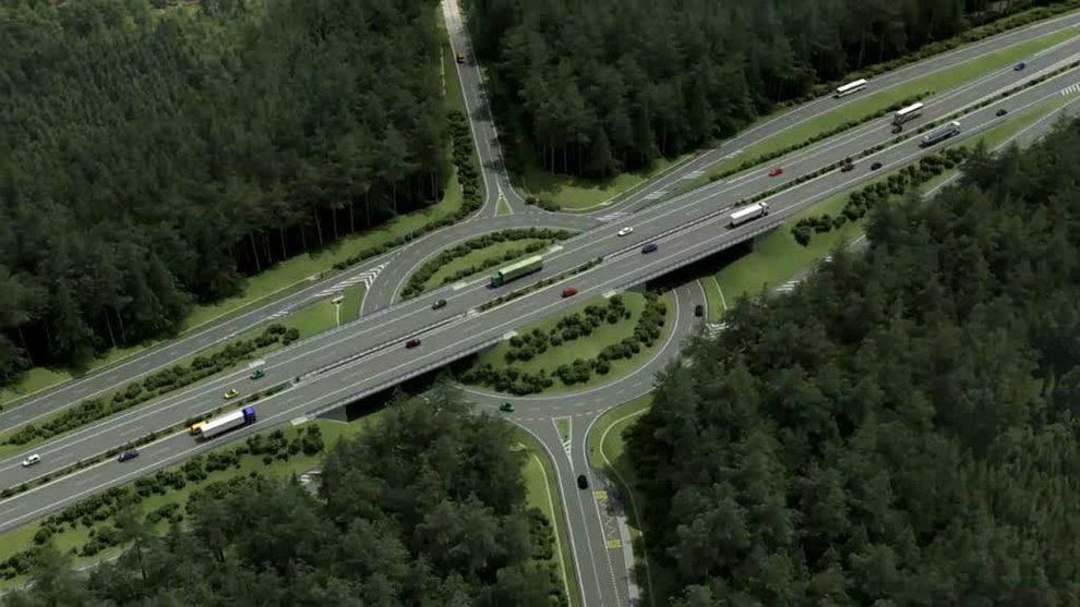 Vizualizace dálnice D3 v úseku Třebonín - Kaplice. Pramen: ŘSD