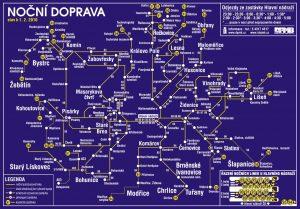 Mapa nočních linek v Brně. Foto: IDS JMK